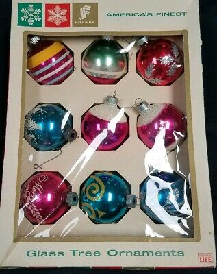 """Vintage George Franke Sons Co. 2.25"""" Glass Tree Ornaments-9 in Box/CHRISTMAS"""