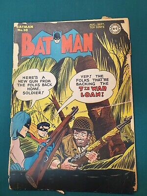 Batman #30 Golden Age Comic  - 1945 World War II cover