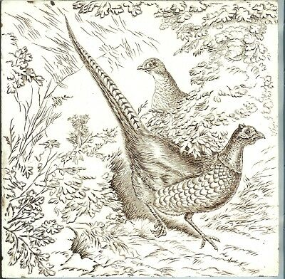 "Birds Antique English Tile Wedgwood Game Series ""Two Pheasants"" Game Series 8"""