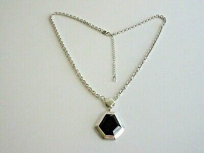 LUCKY BRAND Silver Plated Faceted Black Glass Stone Pendant Chain Necklace