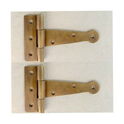 """2 small hinges vintage aged style solid Brass DOOR BOX heavy 4"""" cast B"""