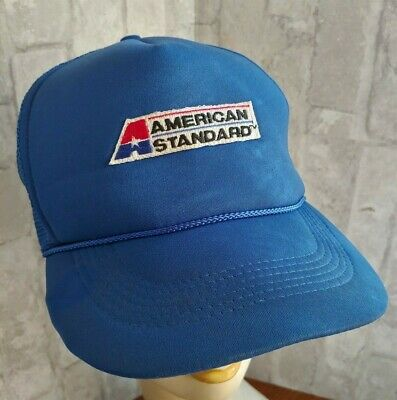 Vintage AMERICAN STANDARD Star A Logo Red White BLUE Mesh Snap Back Truckers Hat