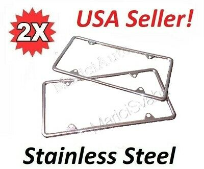 2x High Quality STAINLESS STEEL METAL LICENSE PLATE FRAME TAG COVER Black NEW