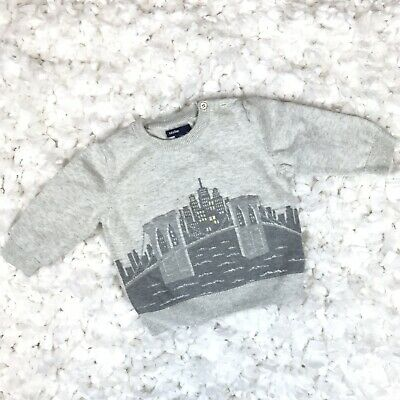 Gap Baby Toddler Boys Sweater Longsleeve City Gray Size 6-12 Months