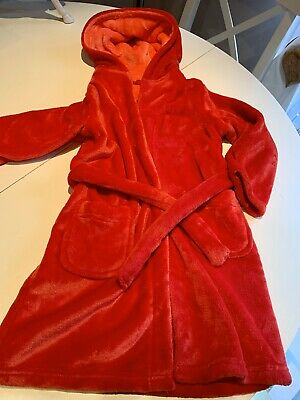 Cosy Red Fleece Girls Dressing Gown Age 5-6years Excellent Condition