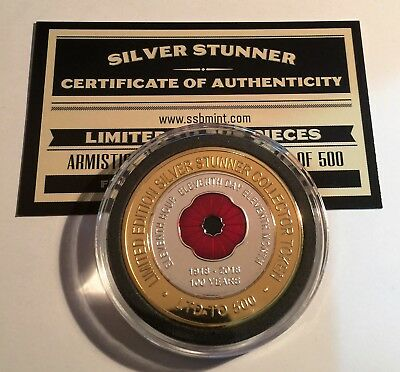"""2018 """"100 Years Of Armistice""""  Poppy, Silver Stunner Coin, Limited to 500 C.O.A"""