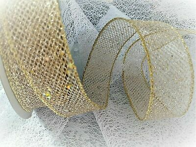 38mm WireEdge Premium GOLDEN SEQUINS Mesh Net Web Ribbon Wrapping New Year Xmas