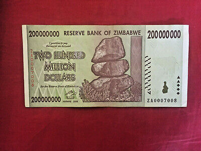 Zimbabwe 20 Million Dollar Za0007008 Banknote Unc Real Note 100T Za Series