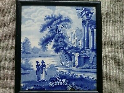 Rare Antique Blue & white transfer printed tile