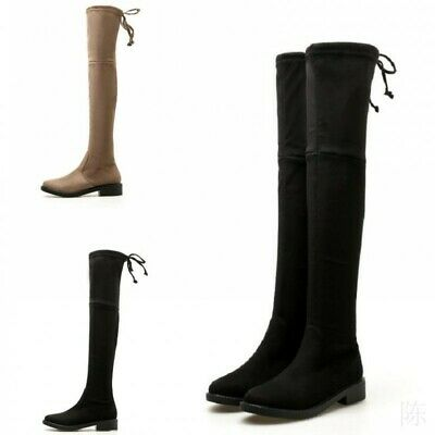 Womens Over The Knee Comfy Flats Ladies Stretch Calf Thigh High Boots Size 34-39