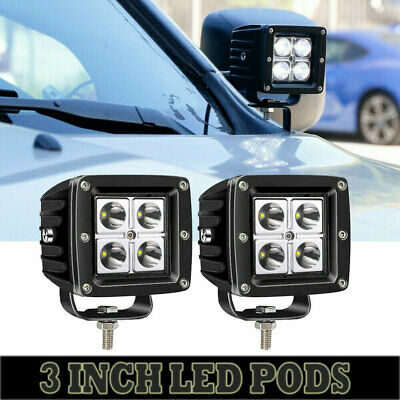 2PCS 3inch 32W LED Spot Work Light Cube Pods Fit Jeep Driving Fog ATV Offroad