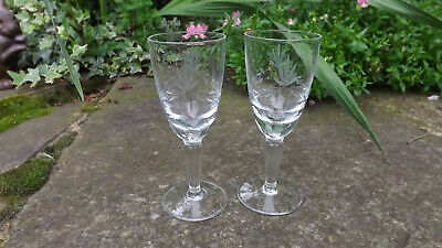 Pair of antique heavy late Victorian Etched Sherry glasses
