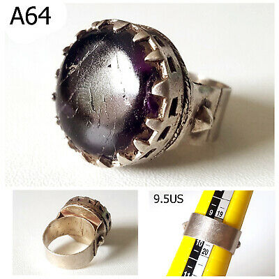 Ancient Celtic Medieval Amethyst Stone REAL Silver Handworked Crown Ring #A64
