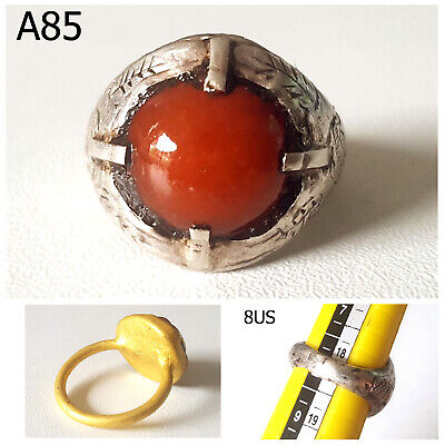 Very Old Greek Roman Clear Carnelian Stone REAL Silver Ring Size 8 #A85