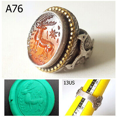 Antique Islamic DEER Persian Intaglio Carnelian REAL Silver Ring Size 13 #A76