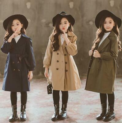 Kids Girls Belted Jacket Long Trench Cotton Double Breasted Coat Parka Outwear
