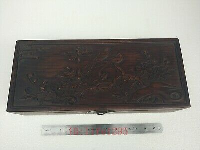 Collected Old China Boxwood Wood Hand Carving Flower Bird Jewelry Box L16.5 inch