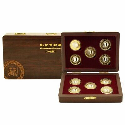 10 Coin Wood Case Display Box Wooden Storage Holder Collection Round Capsule