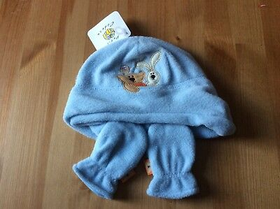 Baby Boy Girl Fleece Blue Winter Hat And Scratch Mittens Size 0-6 Months