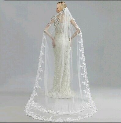 UK 1 Tier 3 Meters Wedding Veil Cathedral Length Bridal Veil With Comb Lace Edge