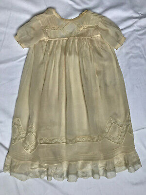 Antique Vintage Silk Baby Dress and Cotton Petticoat (2)
