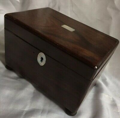 Antique Treen Wooden Ware Tea Caddy Box,Shell Inlaid,Period Item,20Cm Wide,Af
