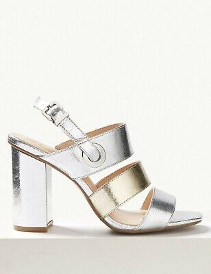 BNWT M&S Multi Strap Block Heeled Slingback Sandals UK 7 Silver Gold Vegan Shoes