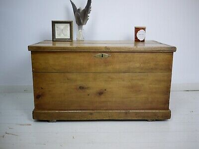 Antique Victorian Vintage Old Pine Chest Trunk Blanket Box Storage Coffee Table