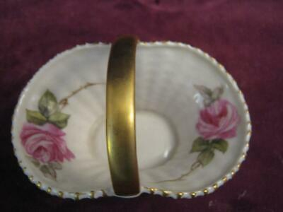 Antique Royal Worcester Hand Painted Pink Hadley  Rose Basket  Dated 1922