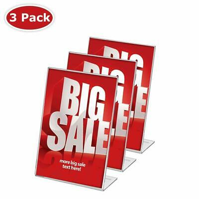Display4top 3 Pack 8.5 x 11 Inches Displays Clear Acrylic Slanted Sign Holder...