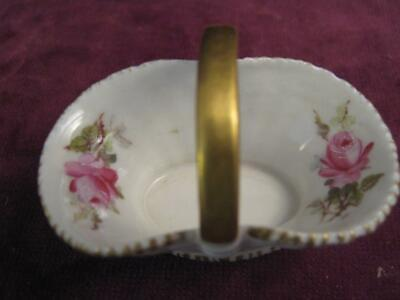 Antique Royal Worcester Hand Painted Pink Hadley Rose Miniature Basket Date 1912