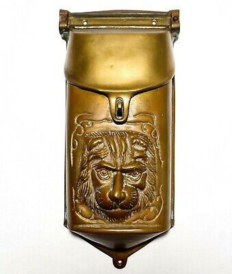 Early 20Th C Vint Decorative Brass Wall Mounted Letter Box, W/Embossed Lion Face