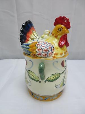 NEW FITZ /& FLOYD RICAMO ROOSTER  /& HEN CHICKEN TAPER CANDLE HOLDERS 2PC