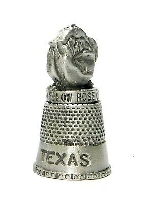 Yellow Rose Of Texas Pewter Thimble. Hi-Refiel Rose Topper