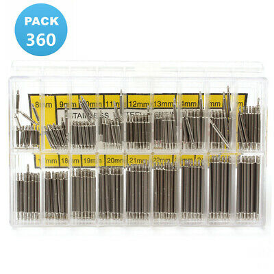 360PCS 8-25mm Stainless Steel Watch Band Spring Bar Strap Link Pins Set Ku