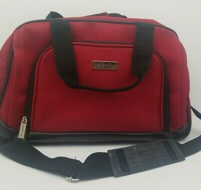 """Claiborne 16"""" Carry On Travel Duffel Bag Red & Black"""