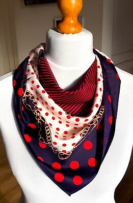 100/%twill silk scarf,60cmx60cm.Striking polka dot design.Gift wrapping available