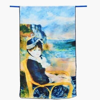 Free wrapping available Renoir /'girl by sea/' 100/% luxurious Crepe De Chine silk