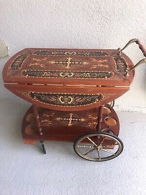 Vintage ITALY Bar Tea Cart Marquetry Inlaid Wood Serving Drop Leaf Bar
