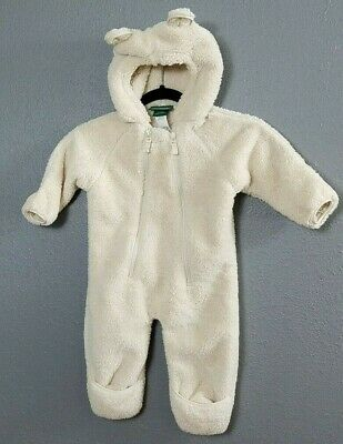 LL Bean 6 12 Months Baby Infant Bunting Teddy Bear Snowsuit Hooded Sherpa Winter