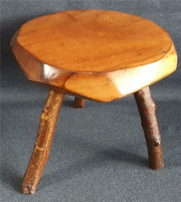 Quirky Vintage/Antique Walnut Stool with Rustic Hazel Legs. 26cm high.