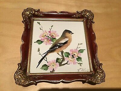 Vintage Rosenthal Hand Painted, Signed And Framed Tile Plaque Of A Bullfinch