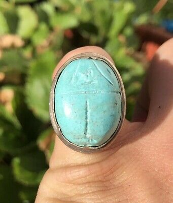 Antique Egyptian Revival Carve Turquoise Scarab Beetle Sterling Silver Ring