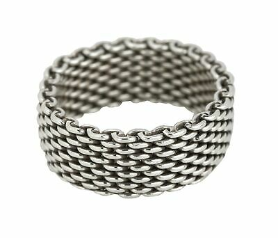 Authentic Tiffany & Co. 925 Sterling Silver Somerset Mesh Ring