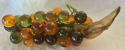 "16"" Retro Lucite Acrylic Grape Cluster Driftwood Amber Green mid century fruit"
