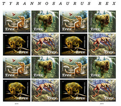 NEW! 2019 USPS Tyrannosaurus Rex (T.Rex) Block of 16 Forever Stamps
