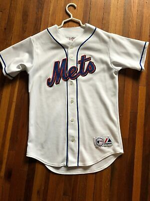 Vintage MLB New York Mets Majestic Mens Small Sewn On Jersey MADE USA