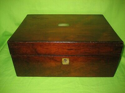Antique  Wooden Box Mother of Pearl Inlay