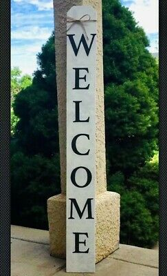 4 ft Large Rustic Wood Welcome Sign Vertical Farmhouse Primitive Porch Entry