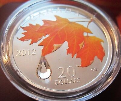 2012 Sugar Maple Crystal Raindrop 1 oz .9999 Silver Coin Canada with COA and Box